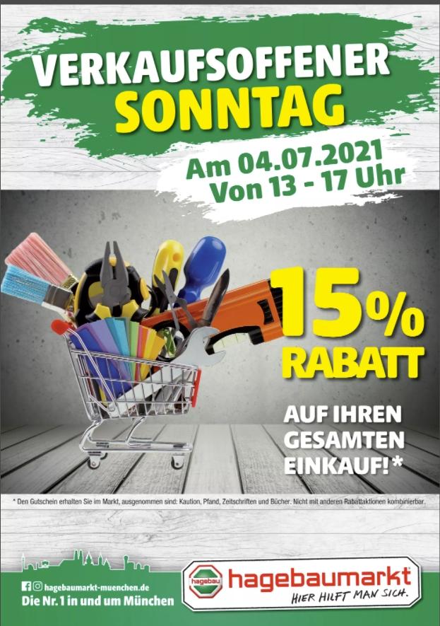[Regional Hagebau Pfaffenhofen am 04.07 von 13-17 Uhr) 15 % auf den gesamten Einkauf