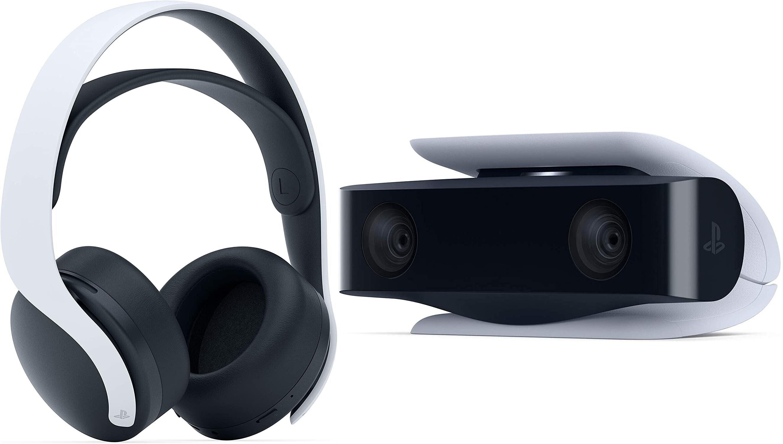 Sony Pulse 3D, Over-ear Gaming Headset Weiß + Sony HD-Kamera, PS5 Zubehör, Schwarz für 96€