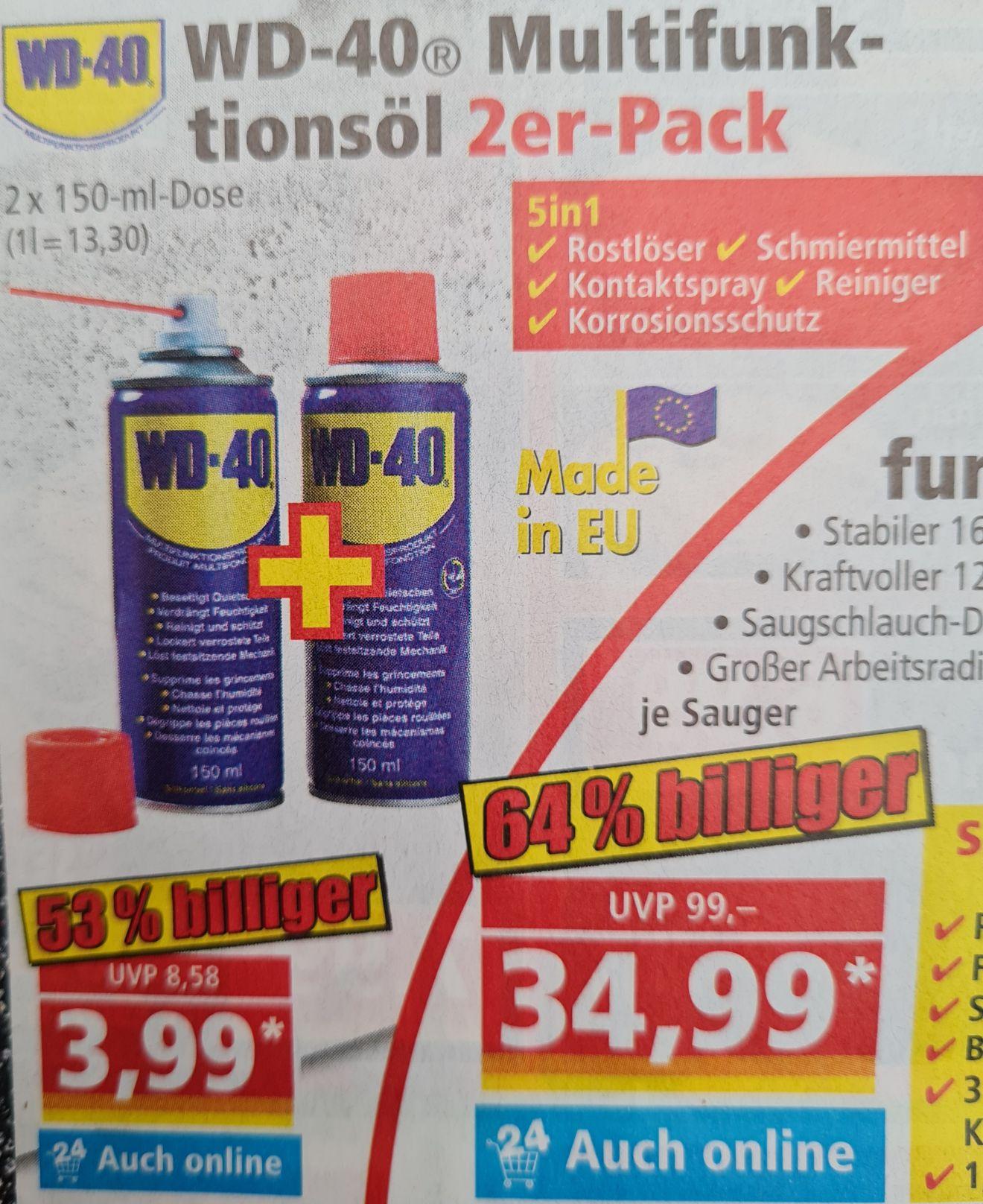 WD-40 Multifunktionsöl 2er-Pack je 150 ml Dose und Scheppach Nass Trockensauger 34,99€ ab 05.07 Norma