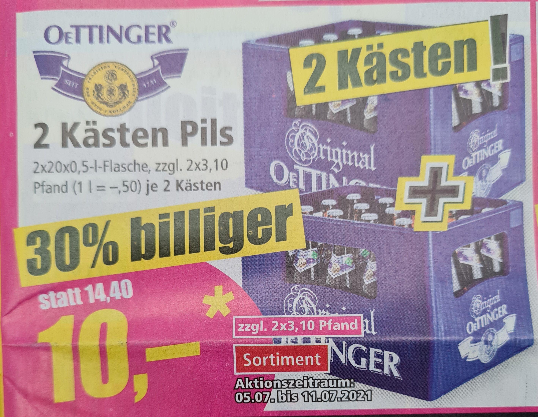 Oettinger 2 Kästen Pils 2x20x0,5 l Flaschen zzgl Pfand eventuell Lokal RPL ab 05.07 Norma