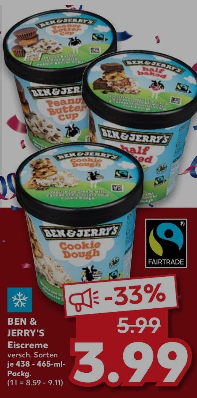 Ben & Jerry's Eiscreme verschiedene Sorten für 3,99€ bei Kaufland