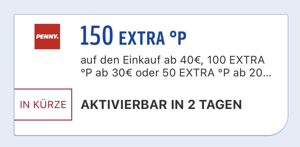 Penny - 150/100/50 Payback Punkte auf einen 40/30/20€ Einkauf