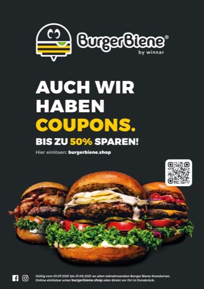 Burger Biene Coupons bis zu 50% (Osnabrück, Bad Iburg, Ibbenbüren, Telgte)