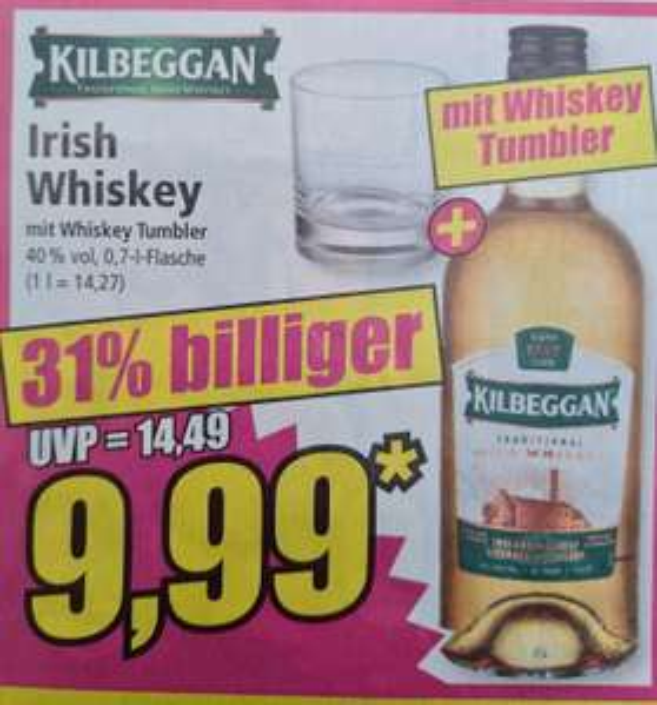 Kilbeggan Irish Whiskey mit Whiskey Tumbler 40% 0,7 l eventuell Lokal RPL ab 09.07 Norma