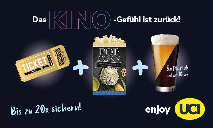 UCI-Kinogutschein (2D inkl. Überlänge & Zuschlägen) + Popcorn (klein) + 0,5l-Getränk (Bier oder Softdrink)