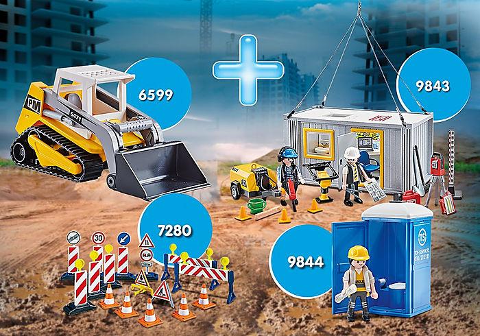 """Playmobil, Bundle """"Bau"""" mit Ketten-Kompaktlader und Baucontainer"""