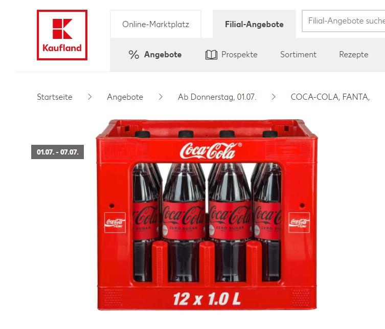 Coca-Cola, Fanta, Sprite, Mezzo-Mix - verschiedene Sorten - 1 Kasten 12 x 1 Liter + 3,30 EUR Pfand [Kaufland / Offline / bundesweit?]