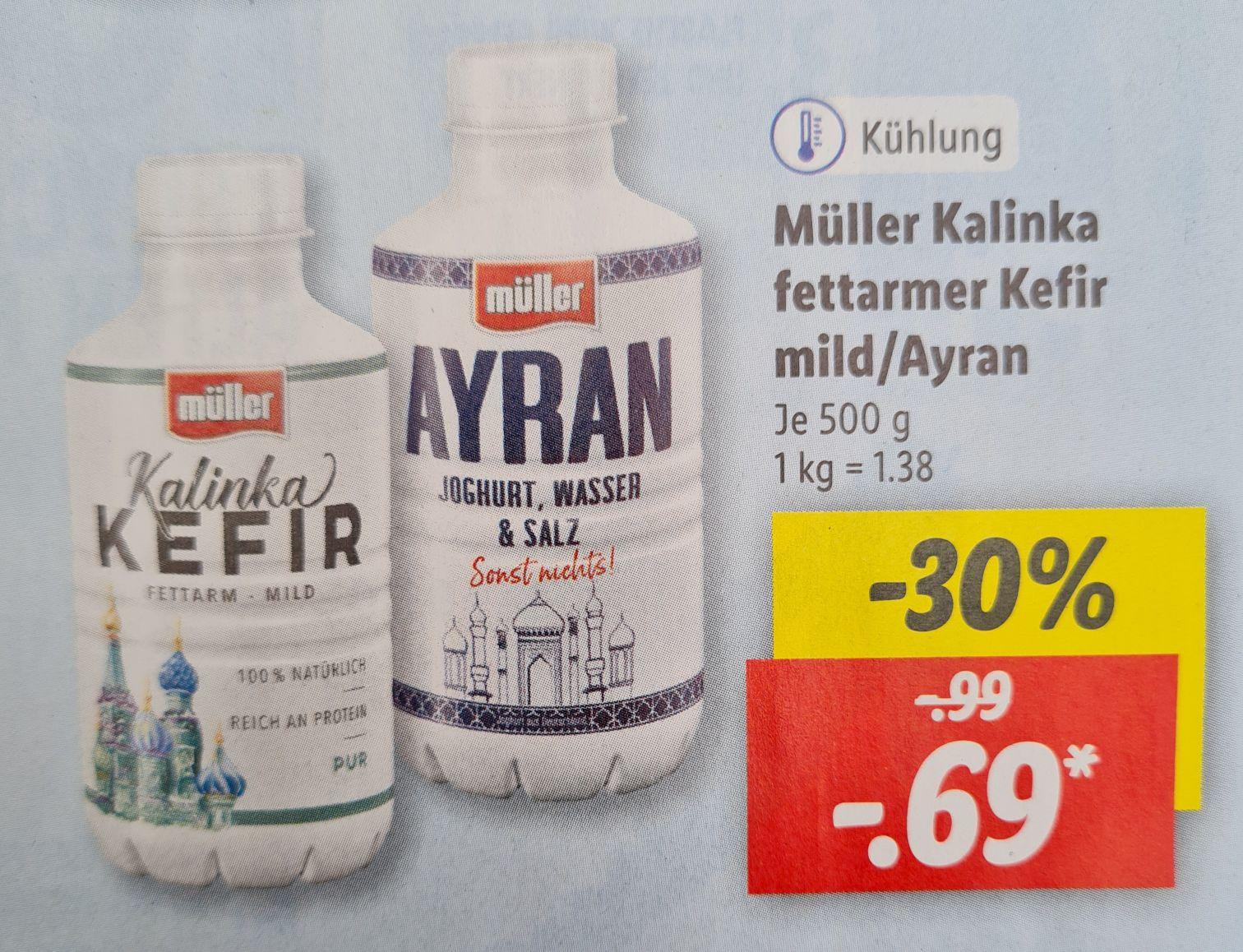 Müller Ayran und Kefir Kalinka fettarm mild je 500 g ab 08.07 Lidl