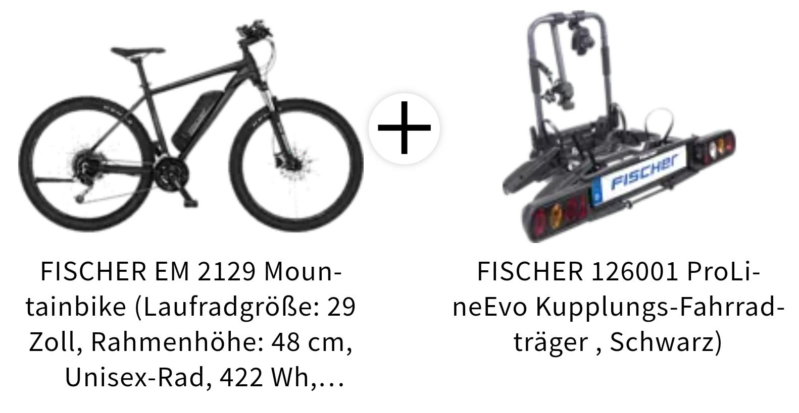FISCHER EM 2129 Mountainbike inklusive Fischer Kupplungs-Fahrradträger ProLineEvo
