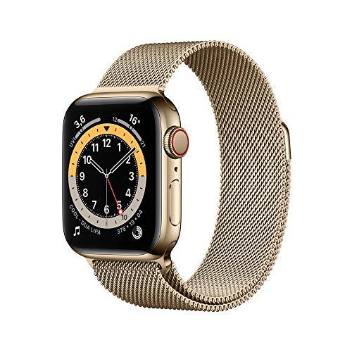 Apple Watch Series 6 (GPS + Cellular, 40 mm) Edelstahlgehäuse Gold, Milanaise Armband Gold