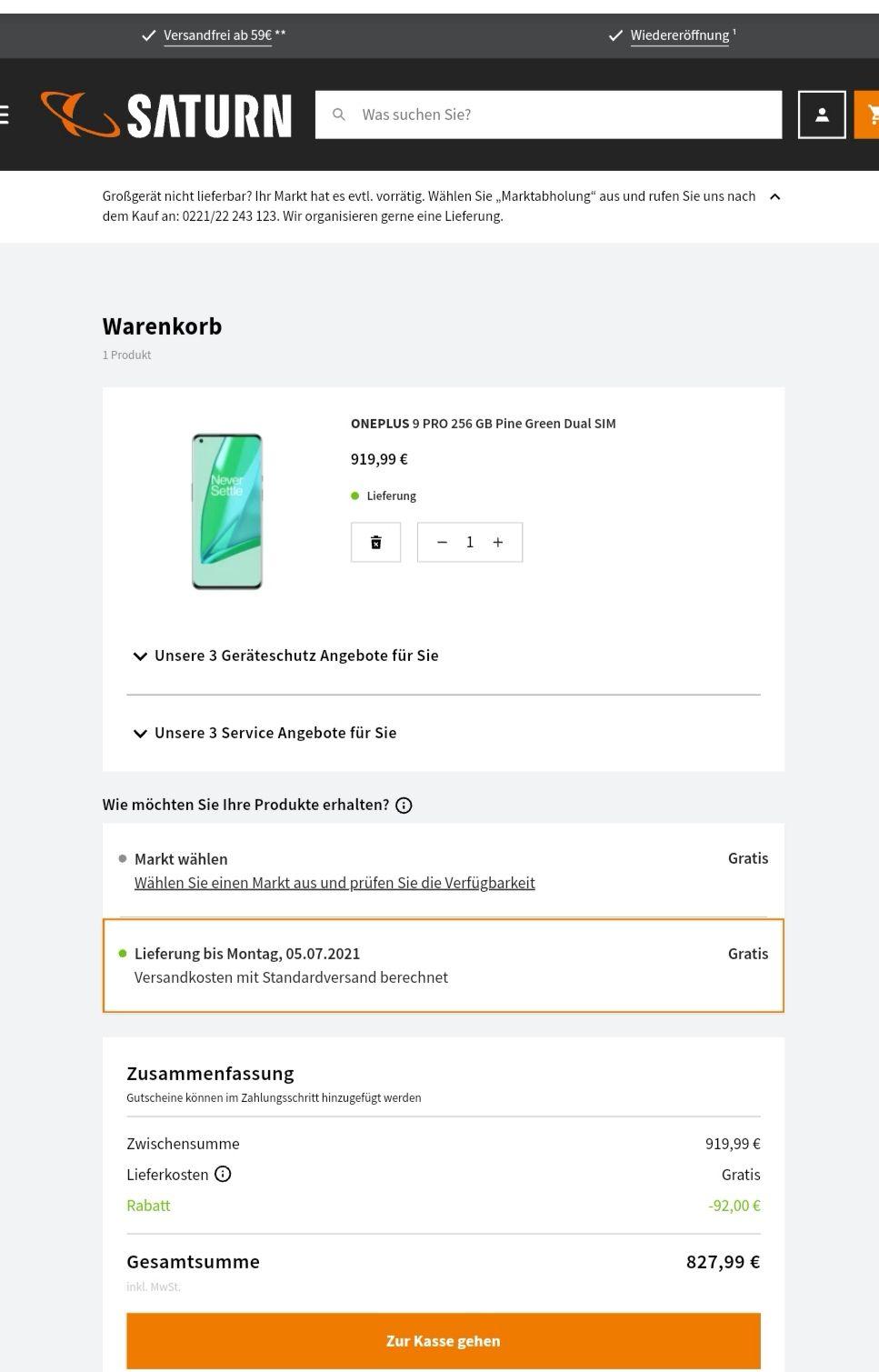Oneplus 9 pro 12/256GB pine green dual SIM [Saturn Aktion]