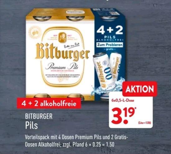 [Aldi Nord] Bitburger Pils 4 + 2 alkoholfreie 6 x 0,5l ab dem 09.07.