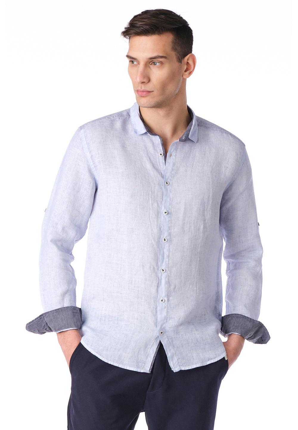 Ron Tomson Hemd aus 100% Leinen, Langarm, Kentkragen, Regular Fit