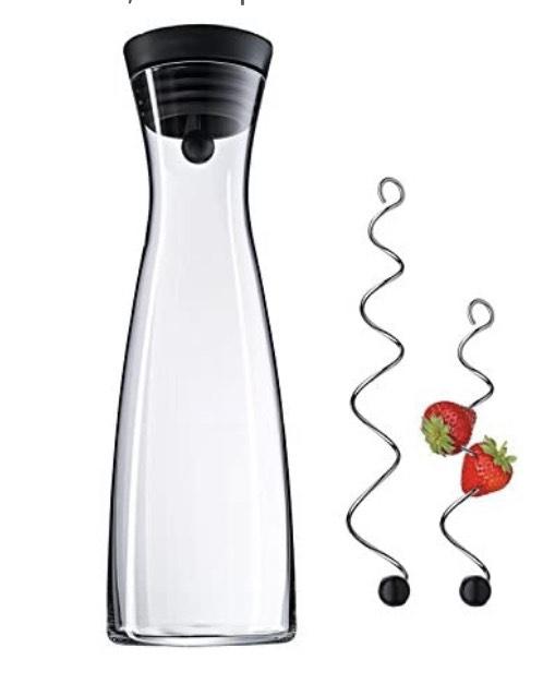 WMF Basic Wasserkaraffe Set 3-teilig, Karaffe mit 2 Fruchtspieße (18 und 24 cm), Glas-Karaffe 1,5l