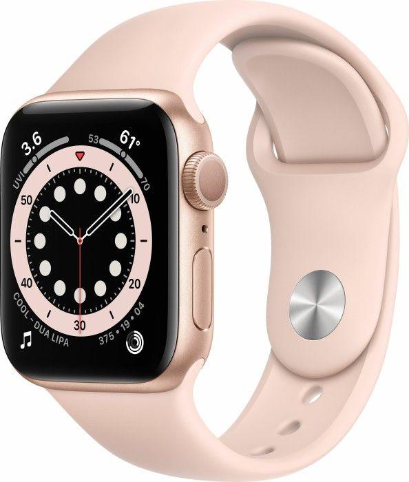 Apple Watch Series 6 GPS (44 mm, Aluminium, Sportarmband, Retina Display, Messung von Sauerstoffgehalt & Herzrhythmus) Gold & Sandrosa