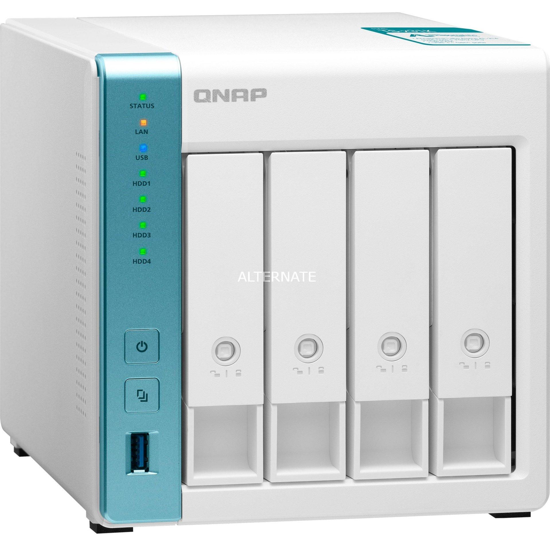 "QNAP 4-Bay NAS-Gehäuse TS-431K (4x 3.5""/2.5"", AL214, 1GB RAM, 2x Gigabit-LAN, 3x USB-A 3.0)"