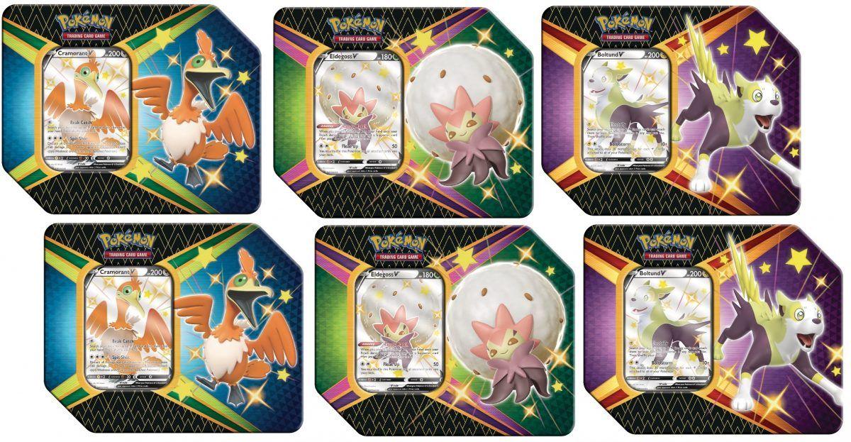 Pokemon TCG 6 Shining Fates Tins Boltund V, Cramorant V und Eldegoss V