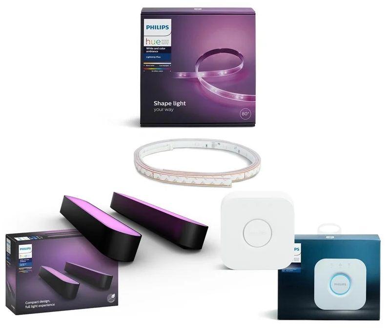 Philips Hue Gaming Deals: z.B. Hue Play Lightbar Doppelpack + Lightstrip Plus V4 Basis-Set 2 Meter + Bridge für 154,90€ + 5,49€ Versand