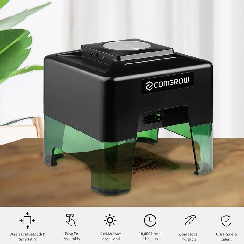 Mini Lasergravierer 98 auf 88mm, 1,6W Laser, Bluetooth