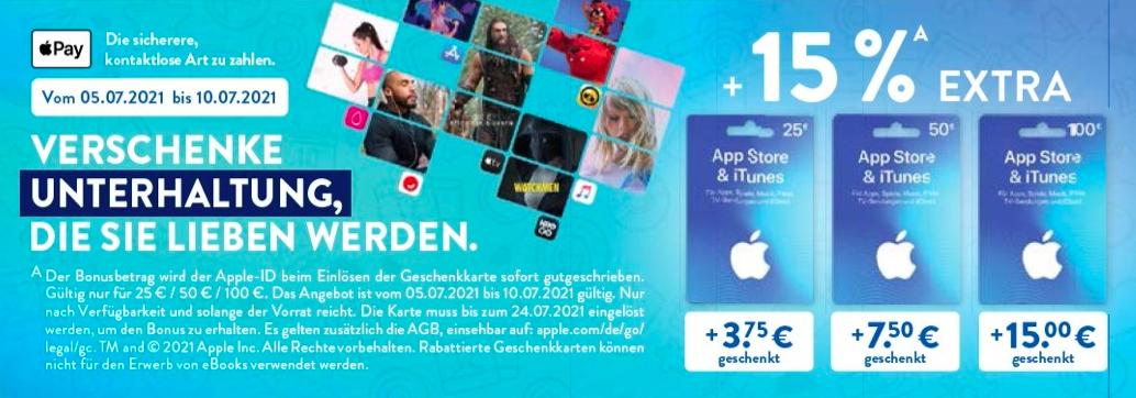 [Aldi Nord/Süd] 15% Extra-Guthaben auf 25€ (und 50/100€) iTunes Guthaben, ab 05.07