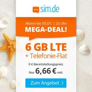 6GB LTE sim.de Tarif für mtl. 6,66€ mit Allnet-Flat, VoLTE & WLAN Call im Telefonica-Netz (mtl. kündbar)