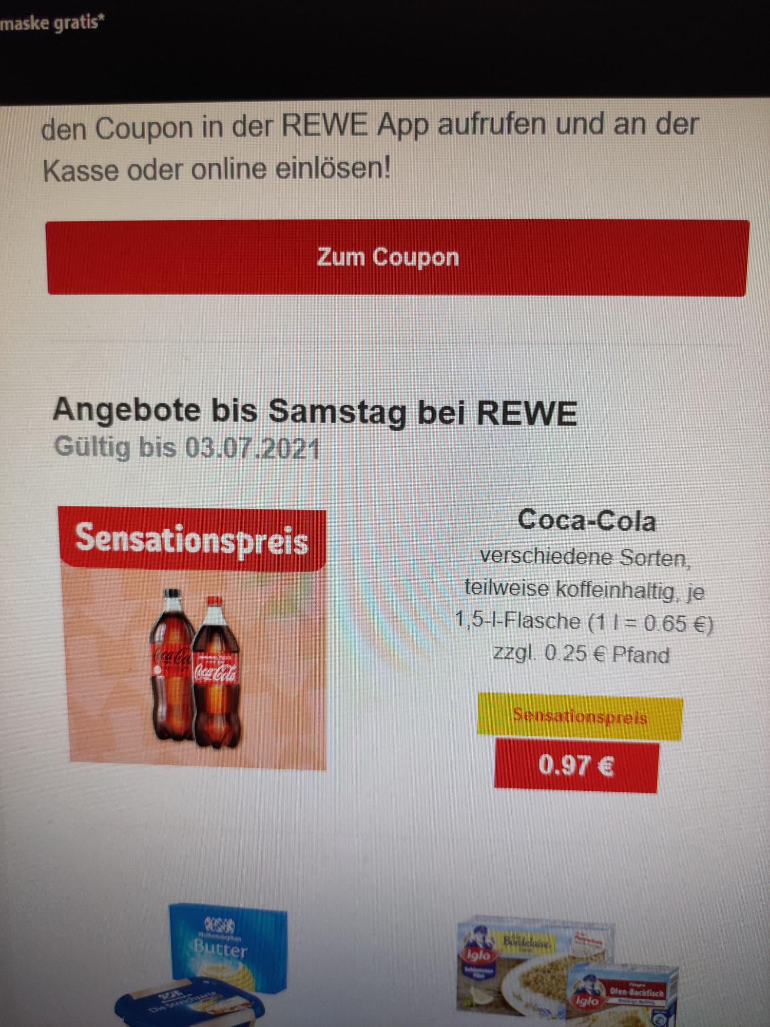 Noch mehr Coca-Cola - ein Graus für CR7 (+0,25 EUR Pfand Flasche) [Rewe Offline bundesweit?]
