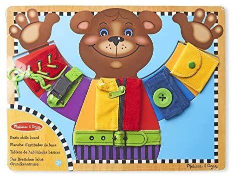 [Prime] Für groß und klein - Melissa & Doug Aktivitätenbrett - Fördert die Fertigkeit, sich allein anzuziehen - Holzspielzeug