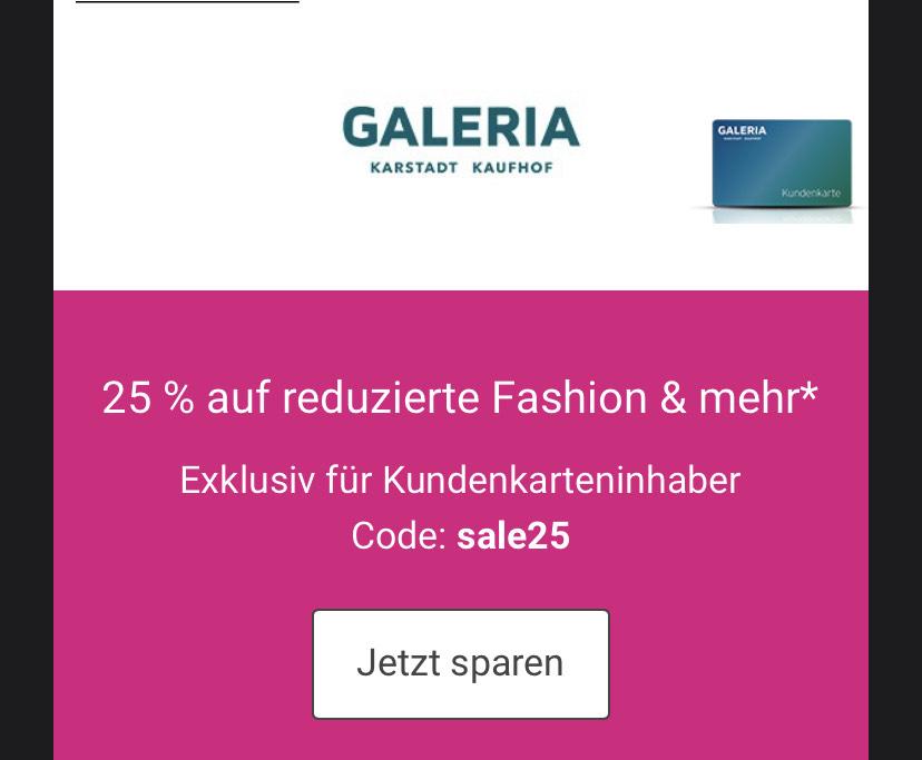 Galeria Kaufhof 25% Rabatt auf Sale für Kundenkarteninhaber