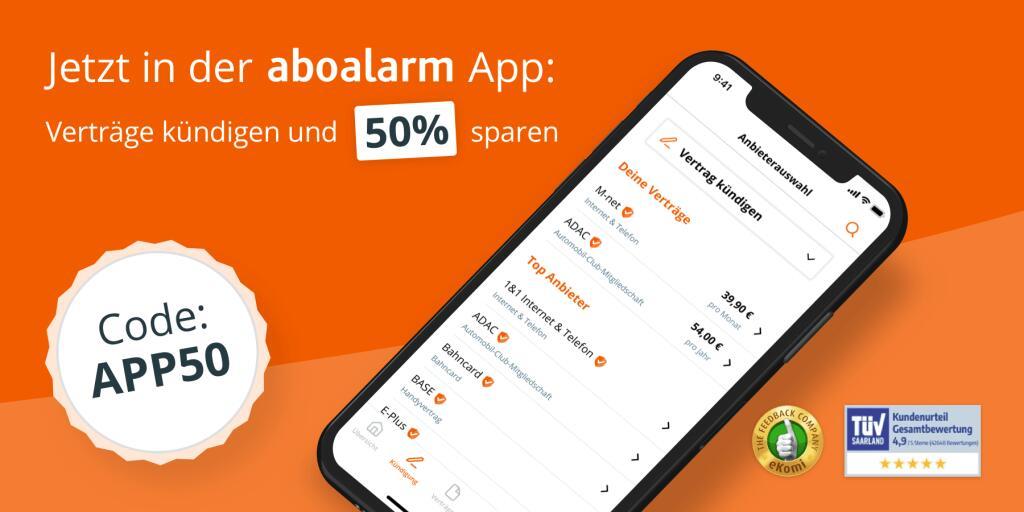 aboalarm App - 50 % Rabatt auf eine Kündigung per App