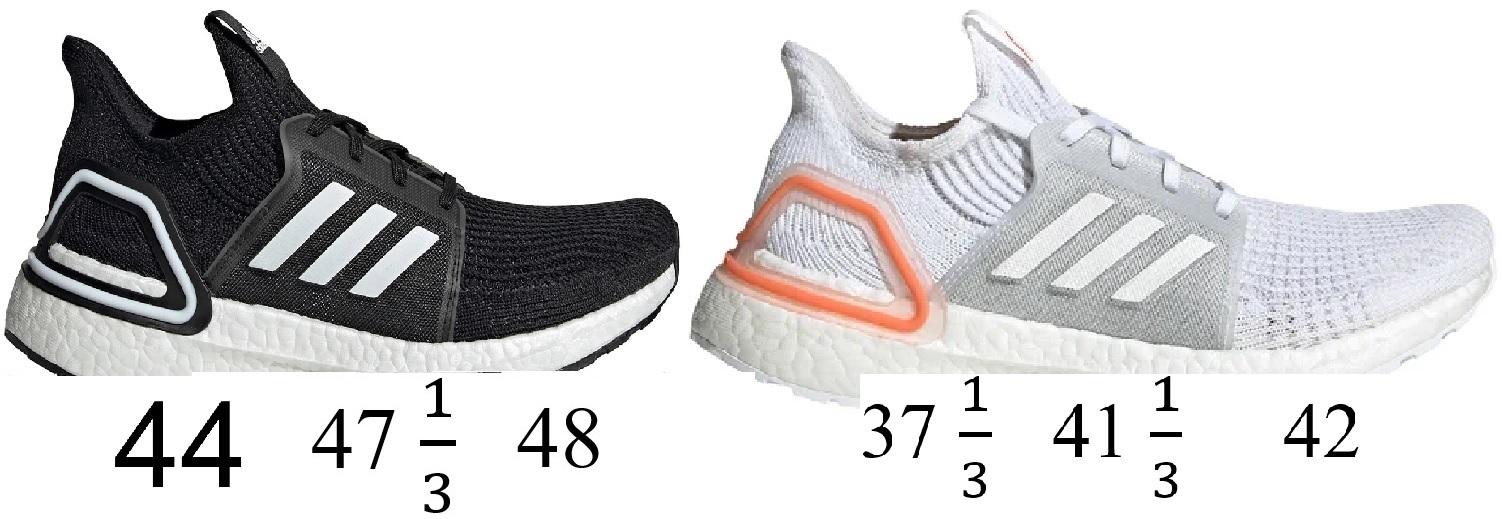 adidas Ultraboost 19 (m/schwarz ; w/weiß) in Zwischengrößen