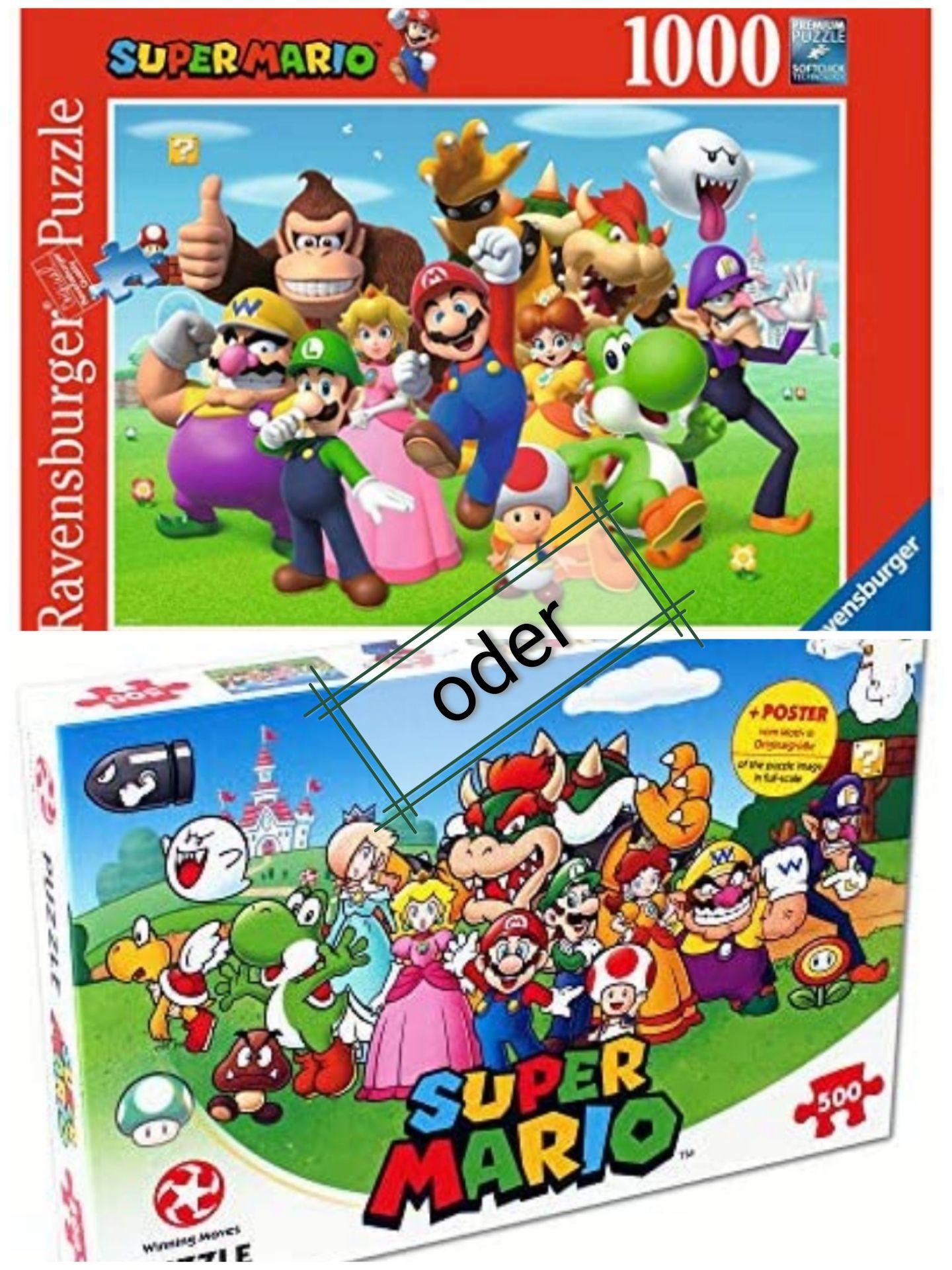 [Prime] Ravensburger Super Mario Puzzle, 1000 Teile (vergriffen) <> [Marketplace] Winning Moves Mario und Freunde Puzzle, 500 Teile (7,36 €)