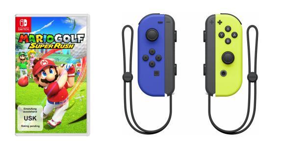 Mario Golf: Super Rush für Nintendo Switch + Switch Joy-Con 2er-Set Controller in 3 verschiedenen Farben + Füllartikel