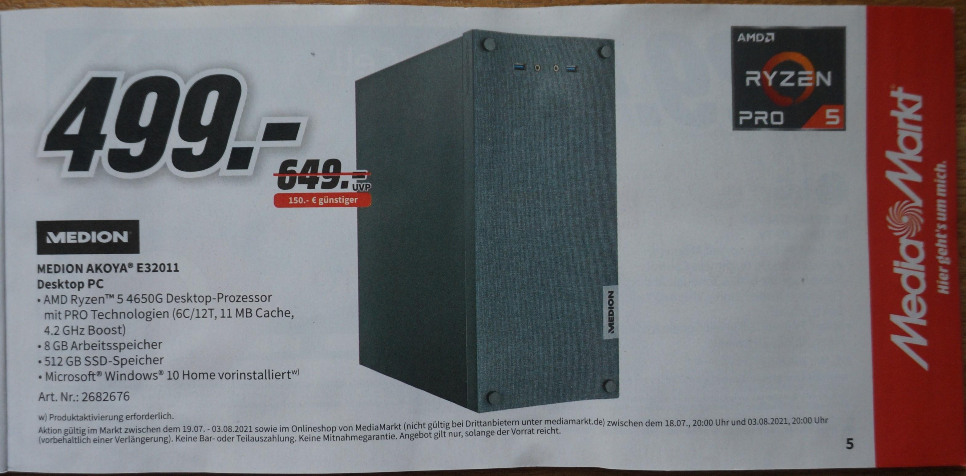 [Media Markt] Gutscheinheft: PC / Notebook gültig 18.07.-03.08.2021 Medion Akoya E32011
