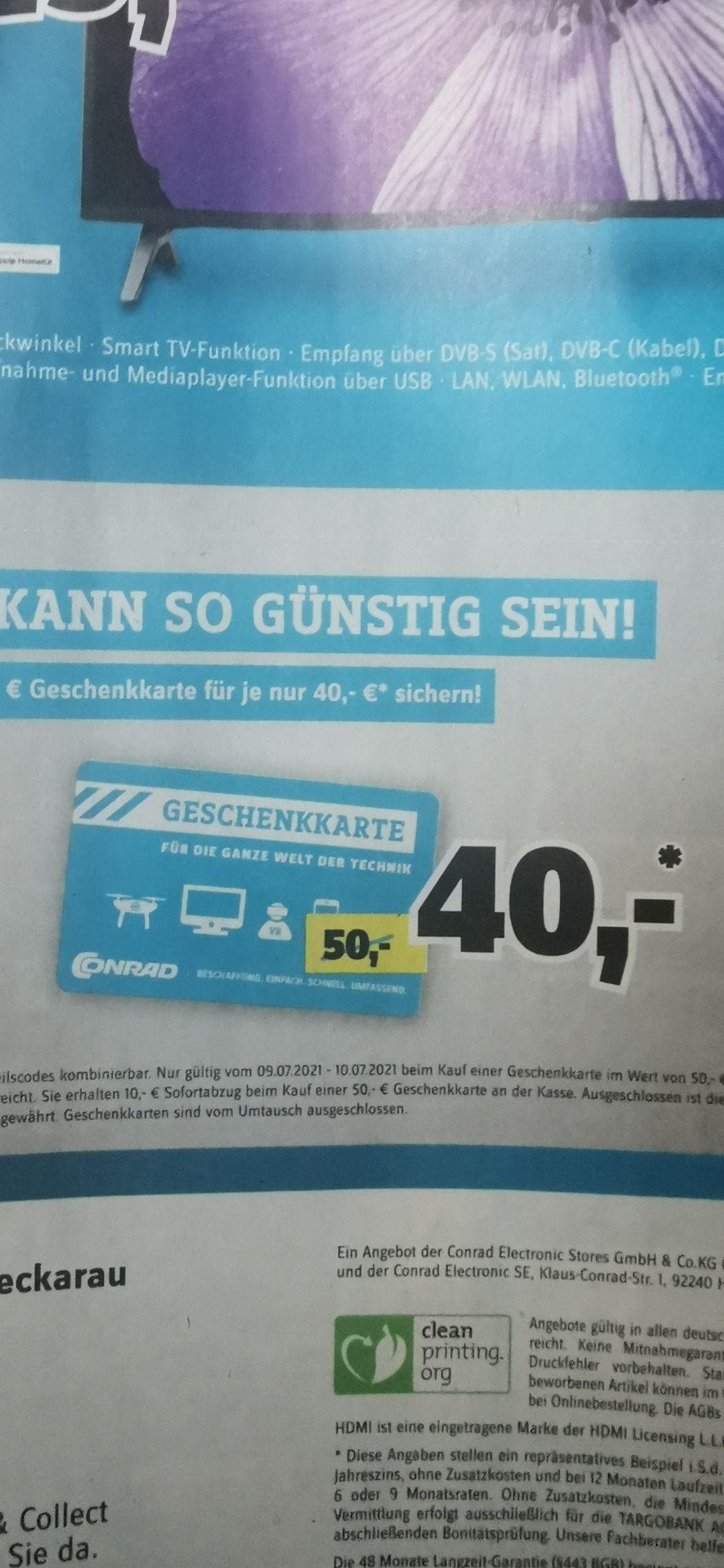 Conrad Prospekt - 50 Euro Gutschein für 40 Euro mit Coupon Vorlage