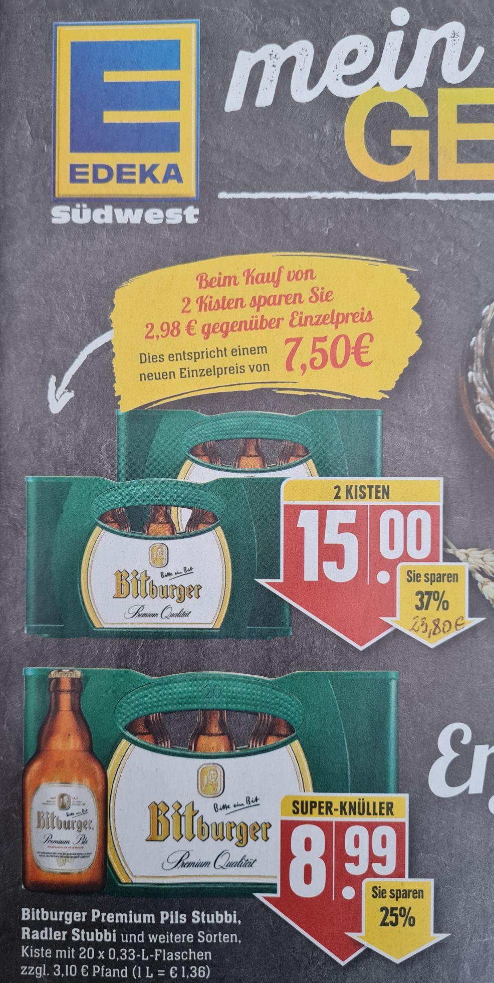 2 Kisten Bitburger Premium Pils oder Radler 20x0,33l und GRATIS Volvic Tee Edeka Südwest App ab 05.07