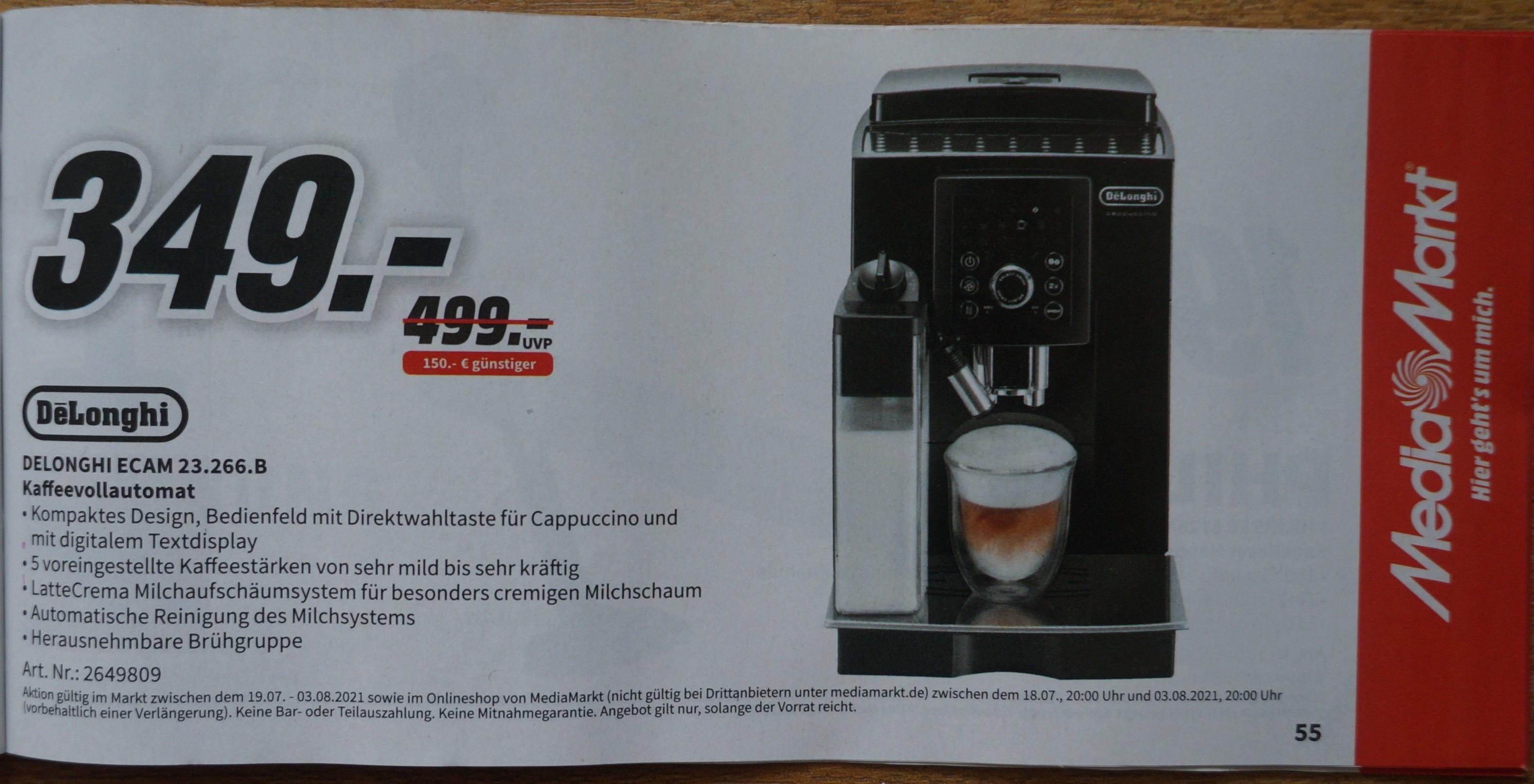 [Media Markt] Gutscheinheft: Rasierer / Staubsauger / Kaffevollautomat / Kleinelektro gültig 18.07.-03.08.2021 Delonghi ECAM 23.266.B
