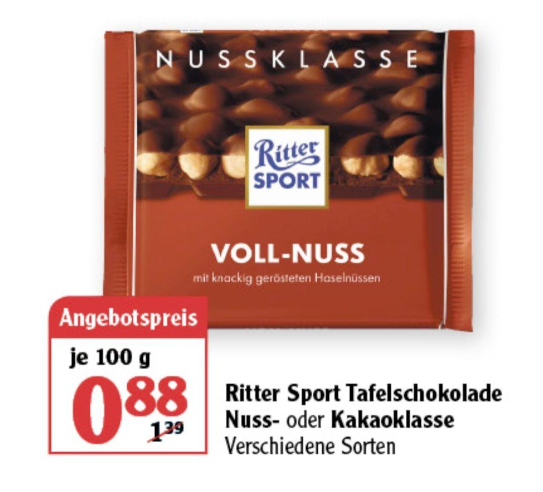 Ritter Sport Nuss oder Kakaoklasse 100 g und Alpia Schokolade 100 g für 0,49€ und 20% auf alle Artikel von Kinder Globus Lokal RPL?