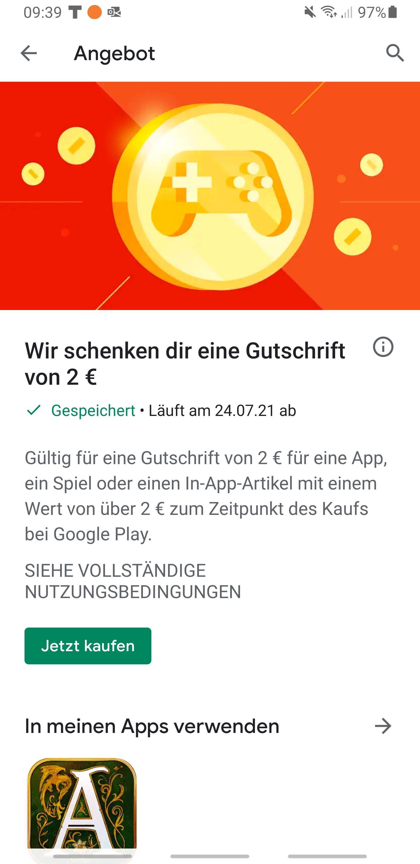 2€ Gutschein im Google Play Store (Personalisiert!)