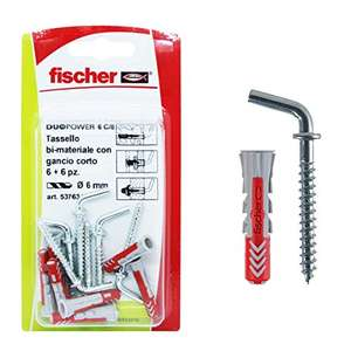 [Amazon Prime] Fischer 537634 Dübel mit Haken kurz Duopower ( grau/rot, 6 x 30 mm, 6-er Set )