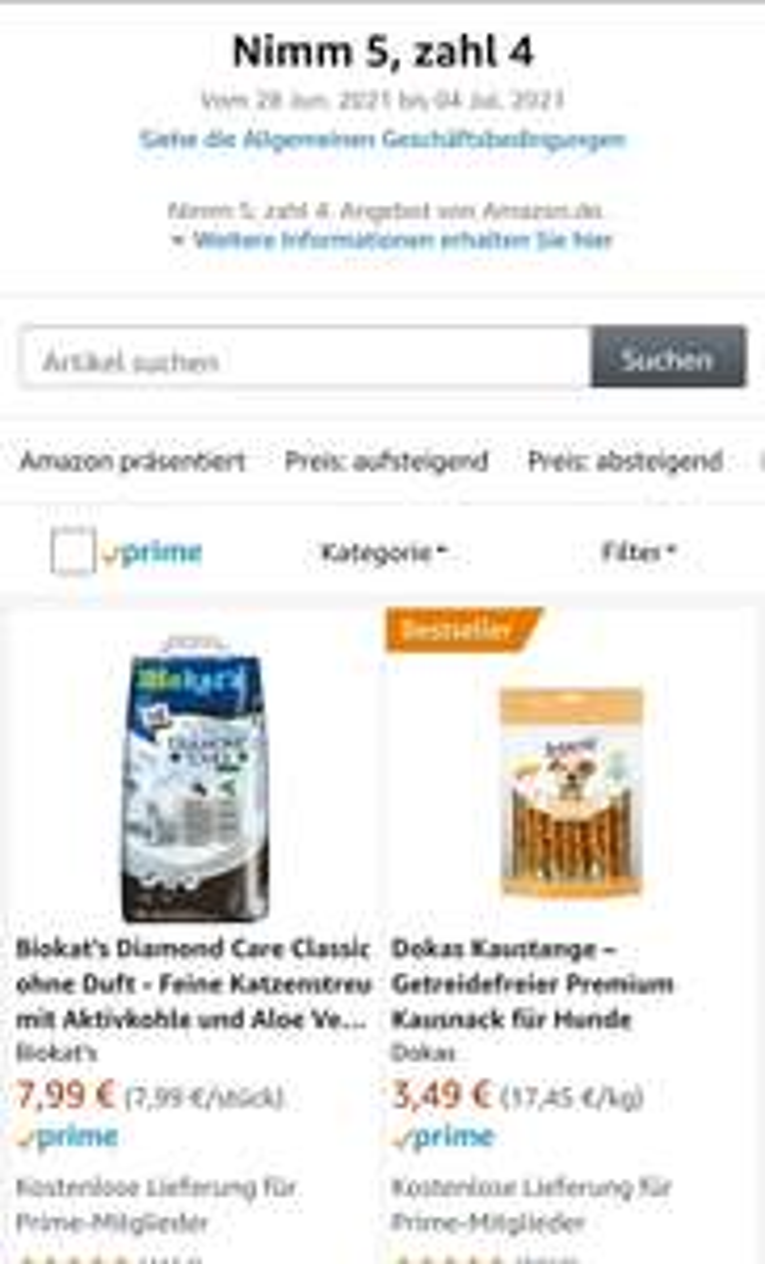 Amazon 5für4 - BioKats Diamond Care Katzenstreu usw.