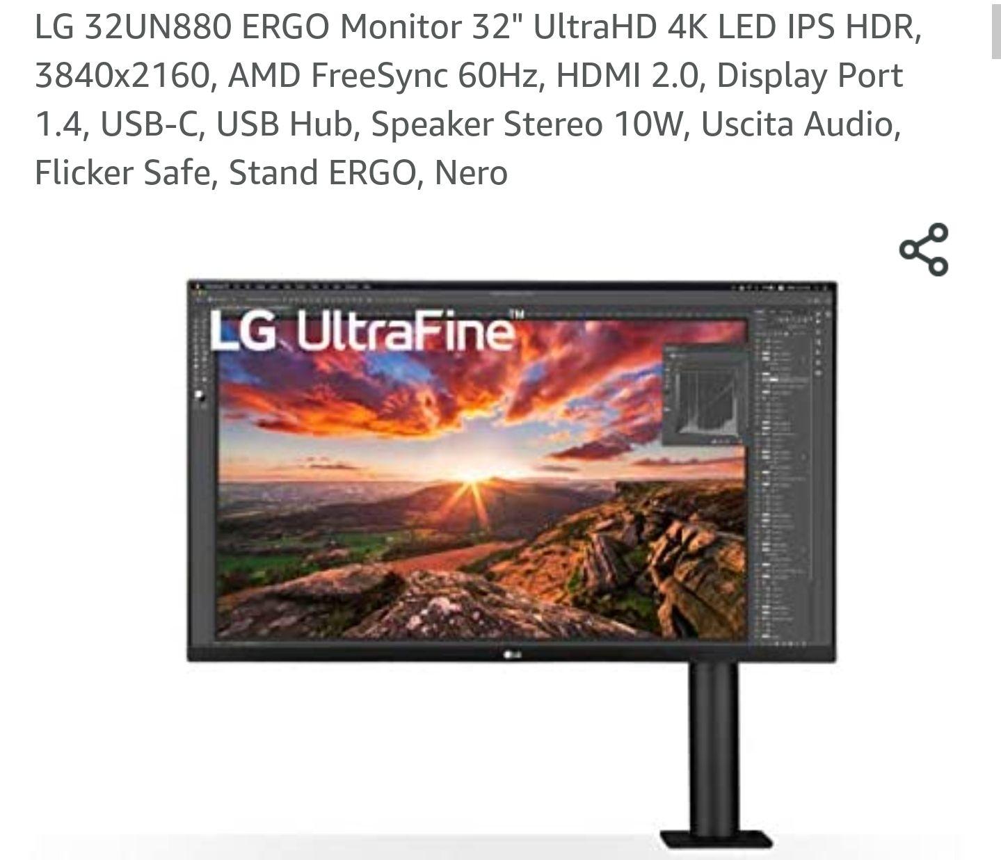 "LG 32UN880 ERGO Monitor 32"" UltraHD 4K LED IPS HDR, 3840x2160, AMD FreeSync 60Hz, HDMI 2.0, Display Port 1.4, USB-C"