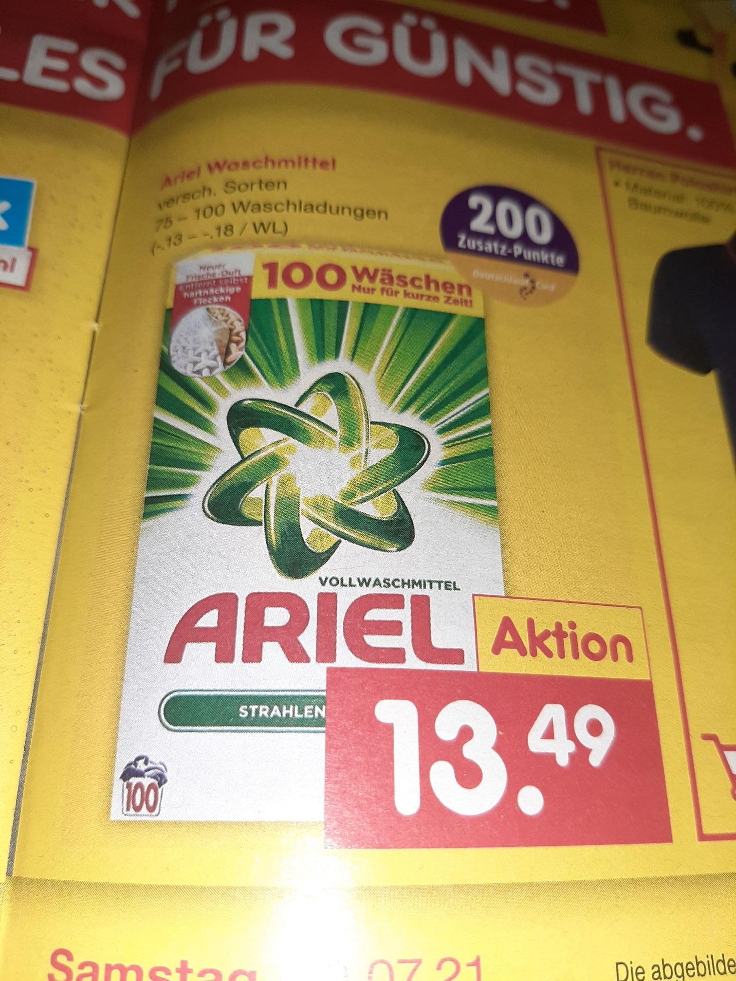 Netto Markendiscount: Ariel Waschmittel Verschiedene Sorten mit Deutschlandcard-Punkten