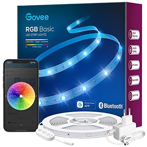 Govee LED Strip 10m, Bluetooth RGB LED Streifen, Farbwechsel, Musik Sync, 64 Szenenmodus, Steuerbar via App, und Steuerbox [Amazon Prime]