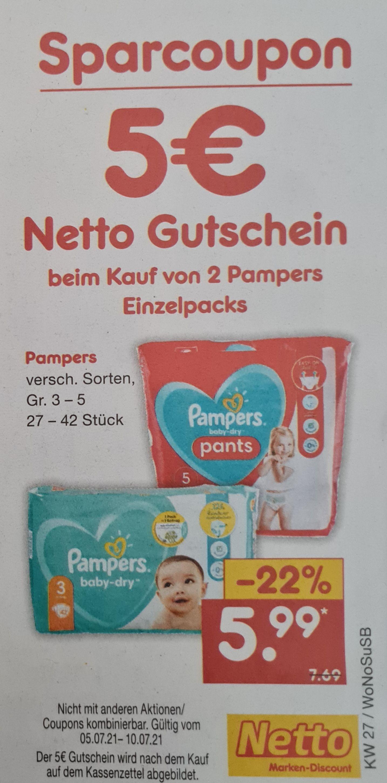 5 Euro Netto MD Gutschein beim Kauf von 2 Pampers Einzelpack verschiedene Sorten ab 05.07 Netto MD
