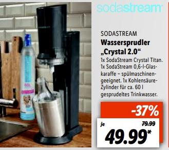 (Regional LIDL Berlin,Selfkant, Herten,Weißenhorn, Kehl ab 15.07) SodaStream Crystal 2.0 , Titan für 44.99€ Apple AirPods 2 für 94,99€