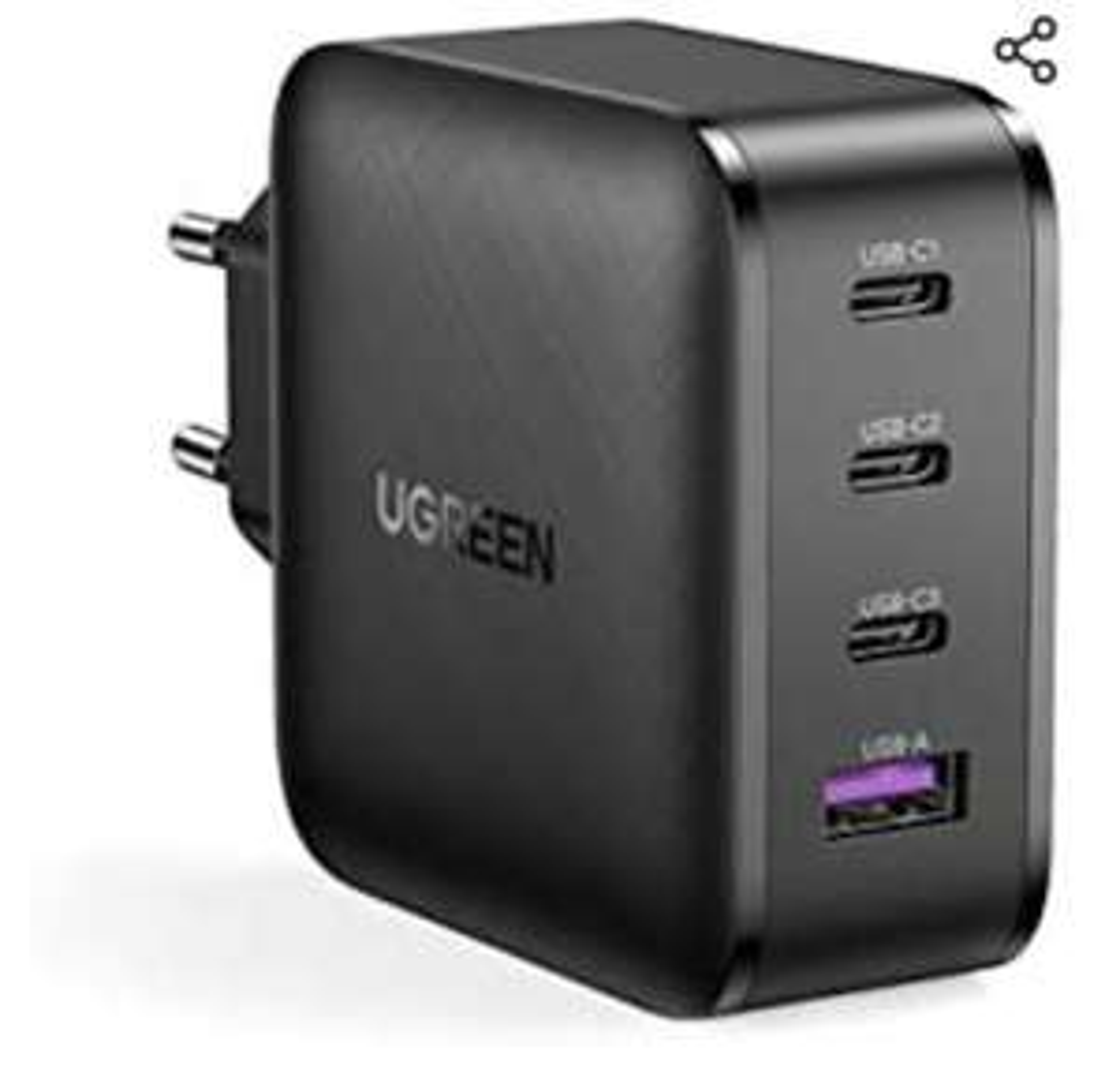 [Amazon Prime] UGREEN 65W USB C Ladegerät USB C Netzteil 4 Ports Charger, PD 3.0 / QC 4.0 mit PPS, SCP, AFC, GaN Tech