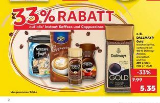 (Kaufland) 33% Rabatt auf alle Instant Kaffee und Cappuccino