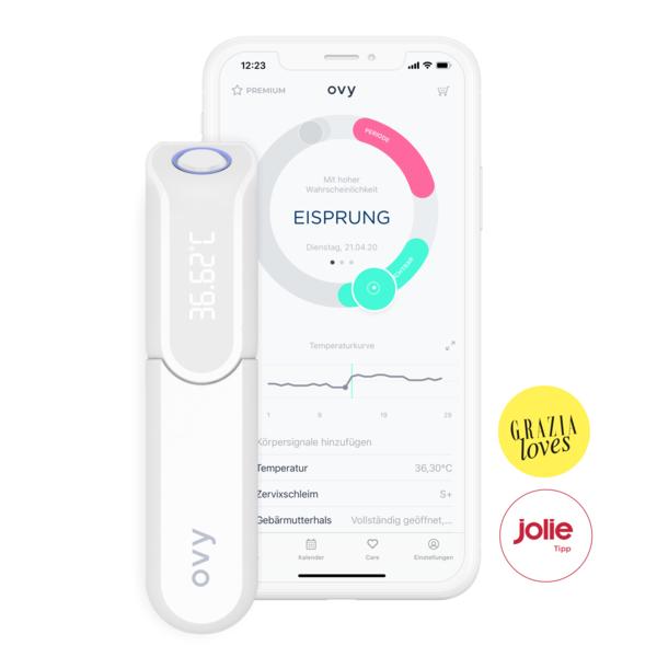 Ovy Bluetooth Thermometer Basalthermometer für Kinderwunsch und Zykluskontrolle mit Ton oder Vibration