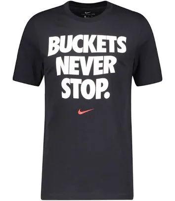 Nike   Herren T-Shirt NBA Dri-FIT Buckets Never Stop, Farbe Schwarz, Größen S und XXL [Engelhorn]