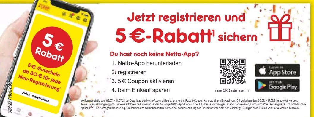 [Netto MD] 5€ Gutschein ab 30€ MBW bei Neutegistrierung in Netto App